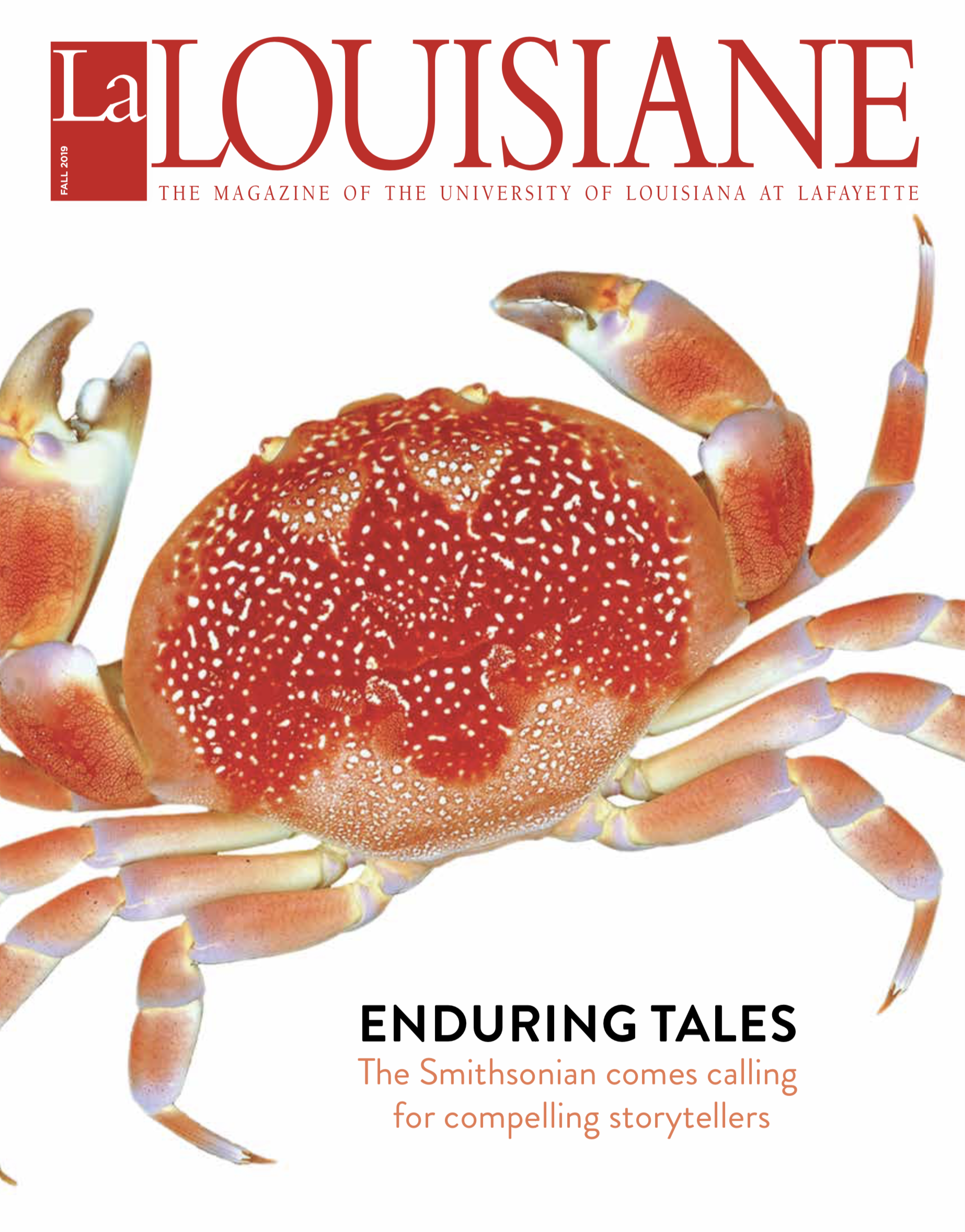 Cover of La Louisiane fall 2019 with a large red and orange crab